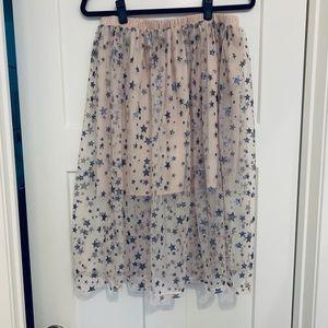 ADORABLE glitter star mesh overlay pale pink skirt